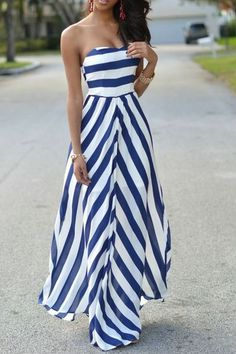 Striped Strapless Maxi Dress More #maxidresses