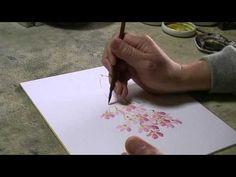 桜の描き方 枝垂れ桜 水墨画家白浪 - YouTube