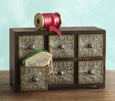 6-Drawer Treasure Chest -  one-of-a-kind handmade metal and wood jewelry box.