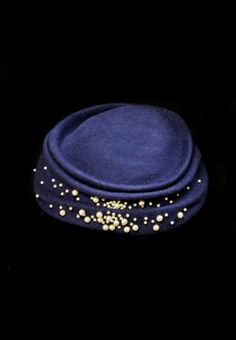 Timothy Brucato. Simple shaping but gorgeous embellishment. #millinery #judithm #hats The random bead embelishment is delightful