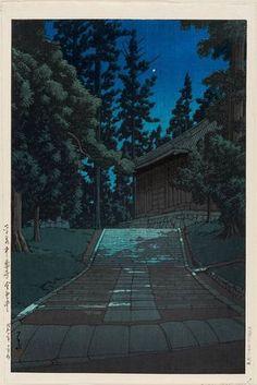 Artist: Kawase Hasui Title: The Golden Hall at Chûson-ji Temple in Hiraizumi (Hiraizumi Chûson-ji Konjikidô), from the series Collected Views of Japan, Eastern Japan Edition (Nihon fûkei shû higashi Nihon hen) - Museum of Fine Arts October 1935