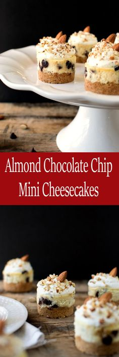 Almond Chocolate Chip Mini Cheesecakes with a buttery almond crust and topped…