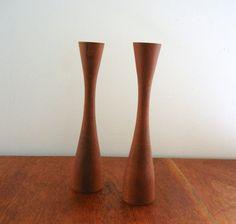 Vintage Wooden Candle Holders