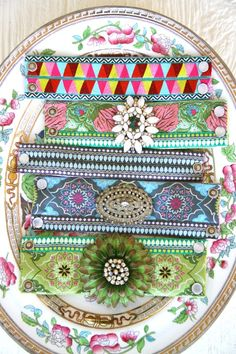 Amy Butler's new ribbon designs from Renaissance Ribbons! Ribbon Cuff Pattern available here - http://www.amybutlerdesign.com/pdfdownloads/