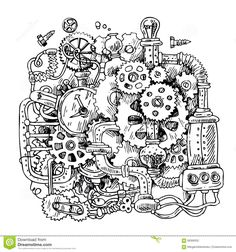 Sketch steampunk mechanism stock vector. Image of metal - 68368352