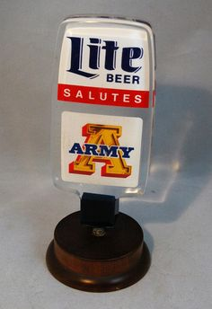 Lite Beer Tap Handle 2-Sided Lite Beer Salutes Army Clear