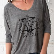 This slouchy long-sleeve tee is made with a little extra room and plenty of style to spare. Features a deep scoop neck and dolman-style sleeves. Made of our sheer, soft Melange Heather Burnout for a vintage-inspired look and feel.  - Melange Heather Burnout: 50% Rayon, 50% Polyester - Yarn dye...