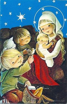 CONSTANZA Baby Jesus, Vintage Christmas Cards, First Communion, Mother And Child, Cute Dolls, Big Eyes, Beautiful Christmas, Vintage Postcards, Nativity