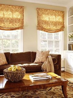 Browns and beiges make for a warm and cozy living room.((Window treatments good in any room)) Window Treatments Living Room, Living Room Windows, Cozy Living Rooms, My Living Room, Home And Living, Living Spaces, Living Area, Gold Curtains, Living Room Inspiration