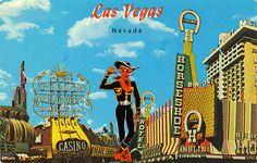 Old Downtown Las Vegas Vintage Postcard.