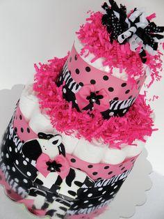 Diaper Cake - Pink & Black Polka Dot Zebra Baby