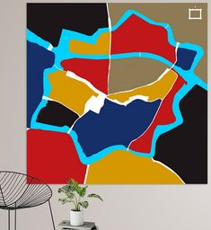 Centrum plattegrond van Zwolle in de kleuren van De Stijl. Grinch, Canvas, Art, De Stijl, Tela, Art Background, Kunst, Canvases, Performing Arts