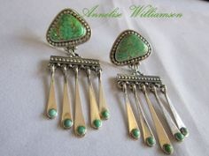 """Top Quality Carico Lake/925 Earrings by Santa Fe Artist """"ANNELISE WILLIAMSON"""" #AnneliseWilliamson #SWContemporaryDangle"""