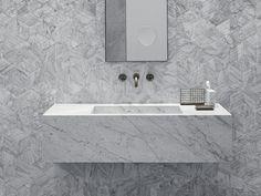 Buy online Stiletto By salvatori, rectangular wall-mounted marble washbasin