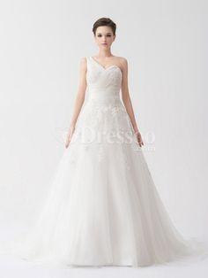 [US$314.69] One Shoulder Allover Appliqued Tulle A Line Satin Wedding Dress