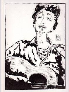 Bob Dylan - encre de chine - encre - papier - oeuvre unique - dessin originale