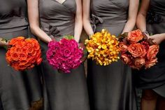 Fall Colors for the Bridesmaids Flowers