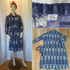 62a331214562 Vintage retro klänning sommar städrocks-modell blå bomull lång arm 60-tal  70-