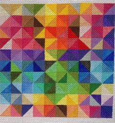 Beautiful Hand Painted HP Geometric Needlepoint Canvas 18 mesh