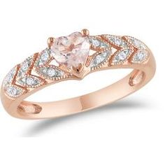 Sofia B 5/9 CT TW Diamond and Pink Morganite Fashion Ring in 10K Rose Gold