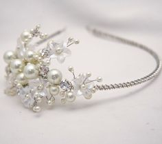 Rhinestone Tiara With Flowers And Ivory Pearls, Wedding Tiara, Bridal Hair Accessory