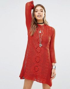 Free People Rosalind Rust Burnt Orange Long Sleeve Crochet Dress w/Slip XS $168 #FreePeople #CrochetMiniDressFitandFlare #Casual