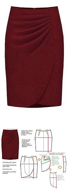 Falda granate plisada