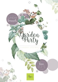 Mimosa   Bank Holiday Garden Party   Colchester   Essex   Created By Ema   E: emablake@gmail.com Spring Bank Holiday, Gin Festival, Colchester Essex, Party Logo, Card Drawing, Circle Logos, Party Poster, Modern Graphic Design, Grafik Design