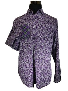 Express Brand Casual Shirt Mens LARGE Fitted Flip Contrast Cuff Purple Paisley #Express #ButtonFront