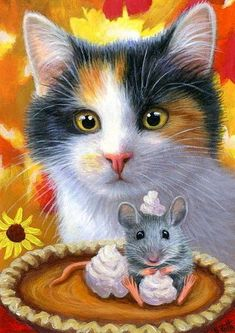 57 Ideas For Cats Watercolor Paintings Mice Animals And Pets, Cute Animals, Watercolor Cat, Watercolor Paintings, Cat Mouse, Cats And Kittens, Ragdoll Kittens, Tabby Cats, Funny Kittens