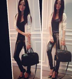 aimee sun Black Biker Jacket, White Cardigan, Celebs, Celebrities, Celebrity Style, Capri Pants, Asian, People, Jackets