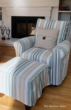 Awning stripe slipcover inspired by cottage living on Lake Michigan.