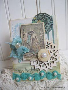 victorian birthday card- FANCY LADY and FAIRY-handmade birthday card