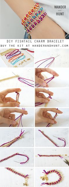 This kit includes:  Gold fishtail chain  3 x gold charms 4 x nylon thread (pink, purple, blue, orange)  Gold jump...
