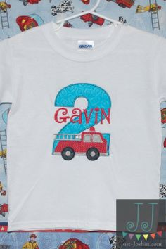 Personalized Firetruck appliqué Birthday Number Twin Set by JustJoshinKids