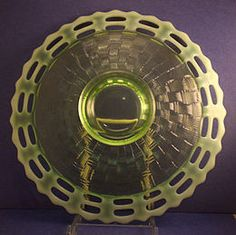 Example of a Fenton Basket Weave plate. History Of Glass, Fenton Milk Glass, Glass Company, Cake Plates, Art Techniques, Basket Weaving, Glass Art, Mirror, Antiques
