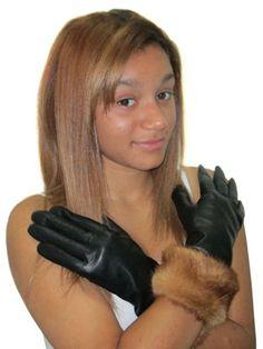 黄金のミンクの毛皮を持つ黒の手袋は9トリムFursNewYorkカシミヤ並ぶラムスキンの革