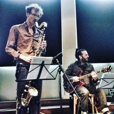 Iman Spaargaren bass #clarinet @ De Machinist #Rotterdam 2016 #Undercurrent Trio: Guillermo Celano on #guitar and Marcos Baggiani on #drums