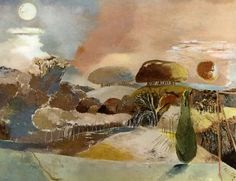 "Paul Nash / Landscape of the Vernal Equinox ""abstract"" landscape Abstract Landscape, Landscape Paintings, Abstract Art, Abstract Paintings, Watercolour Painting, Landscape Arquitecture, Vernal Equinox, The Embrace, English Artists"