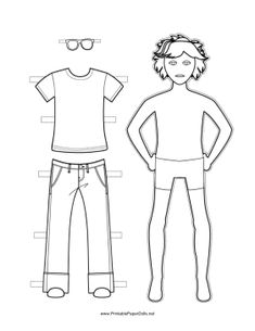 Boy Paper Doll to Color Paper Doll Template, Paper Dolls Printable, Surfer Hair, Jesus Girl, Cool Summer Outfits, Cool Coloring Pages, Shirt Template, To Color, Dress Up