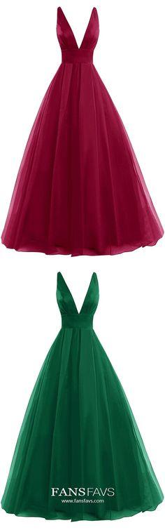 Long Prom Dresses Burgundy, Ball Gown Prom Dresses V Neck, Tulle Prom Dresses Modest, Sexy Prom Dresses Open Back #FansFavs #burgundydresses #ballgowns #openbackdresses