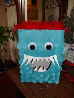 """My son's valentines box. we called him """"love monster"""" We wanted to do something different, other than the same ol' mailbox"""