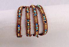 Sapphire Swarovski Bead Wrap Bracelet Gold by BelkysBracelets, $78.00
