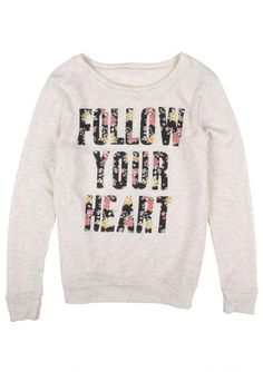 Follow Your Heart longsleeve shirt diy: just iron on or sew letters out of fabric scraps