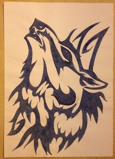 Tribal drawing ~ wolf, scream -Coline210