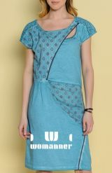 Angels Never Die Spring/Summer 2014 collection dress online.  Unusual summer dress by Angels Never Die in a beautiful aqua blue hue. This jersey dress is decorated with a cut out details, lace shoulders and with delicate ornament printings. www.womanner.com