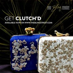 Birds & Flowers perched on clutch bags by Clutch'd available now on http://www.theblingstreet.com/designers/clutchd-306 — with Clutch'D.