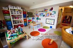 An amazing post on play space in a small house from an educator and home-based daycare provider. There are some AWESOME organizational ideas in here, both for a daycare and as a parent (I love the baby-free zone and 'work spots'! Daycare Storage, Daycare Organization, Organizing Ideas, Organizing Solutions, Daycare Spaces, Kid Spaces, Play Spaces, Play Areas, Home Childcare