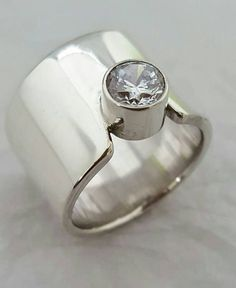 Solid 925 Sterling Silver Simple Modern Chunky Design Ring RQjgB