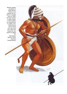 Mycenean promachos in Trojan War. Mycenaean, Minoan, Soldado Universal, Bronze Age Collapse, Sea Peoples, Classical Greece, Ancient History, Greek History, Greek Warrior